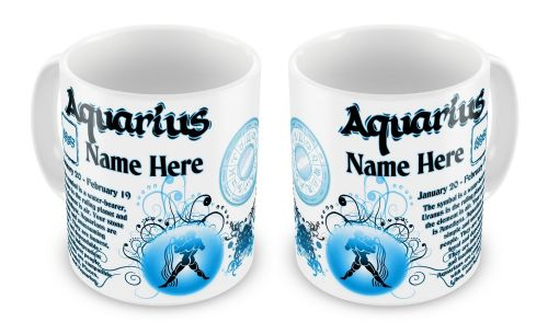 Personalised Any Name Zodiac Astrology Horoscope Star Sign Novelty Gift Mug - Blue